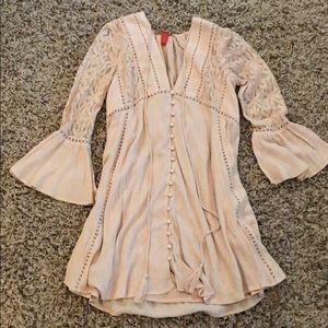Light pink babydoll boho dress